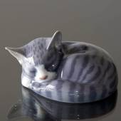Sovende stribet kat, Royal Copenhagen figur nr. 422