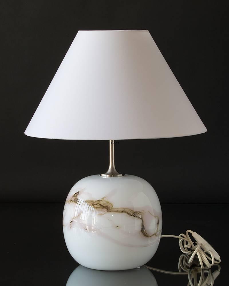 Holmegaard Sakura lampe, Stor, rund med rosa striber, Uden sk u00e6rm Udgået af produktion Nr