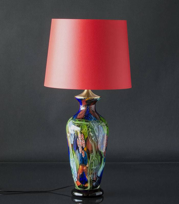 Rød lampeskærm