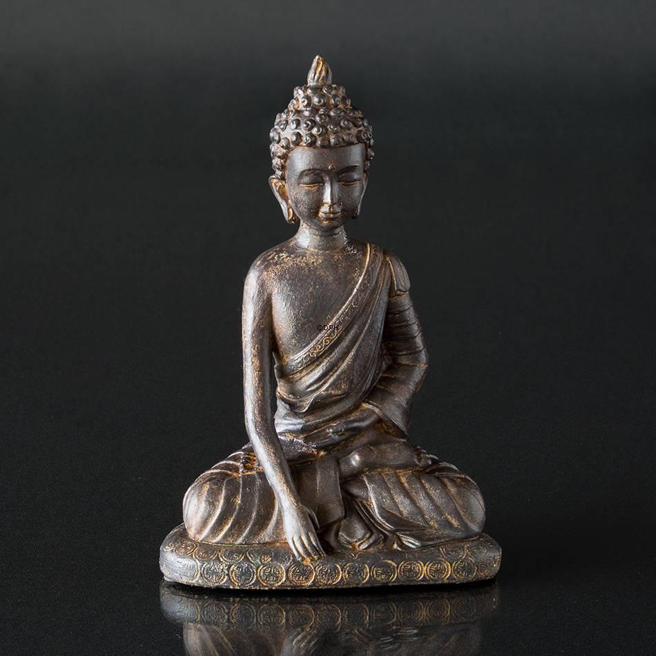 Siddende buddha figur bruneret stor nr 5655 alt for Figur buddha