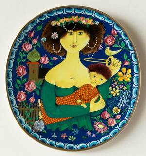 Wall decoration - 1982 Gustavsberg Art Christmas plate, The virgin Mary and Baby Jesus