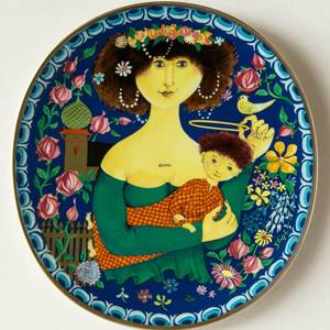Wanddekoration - 1982 Gustavsberg Kunstweihnachtsteller, Gottesmutter mit dem Jesuskind