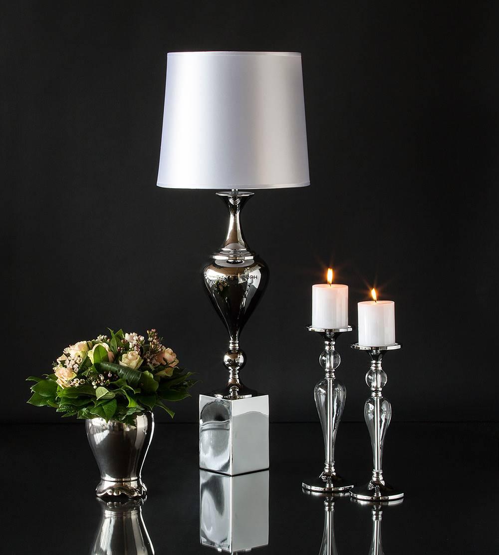 Lysestager sølv og glas