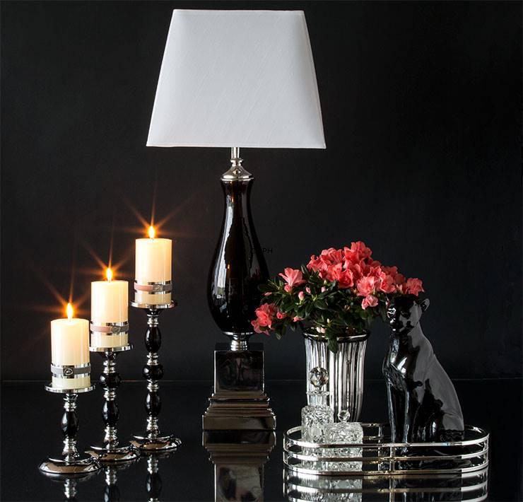 Lysestager sølv og sort til bloklys