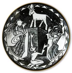 Wall decoration -Rorstrand black and white plates with biblical motifs