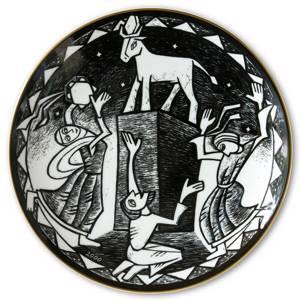 Wanddekoration - Rörstrand Schwarze und Weiße Teller mit biblischen Motiven