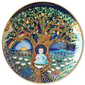 Wall decoration - 1987 Rorstrand Poetry Christmas plate: Look the night retreats for the light of day