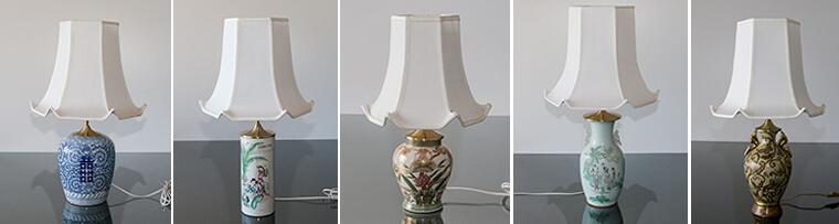 Sekskantede lampeskærme med svip (pagodeskærme)